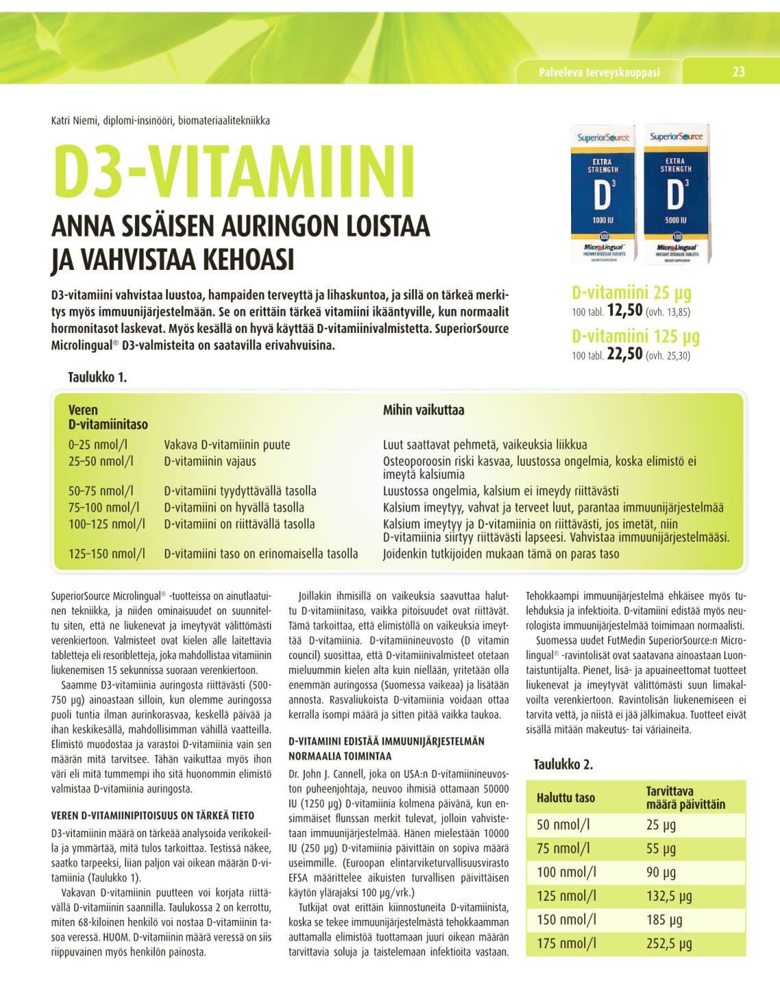 vitamiinien tärkeimmät tehtävät elimistössä